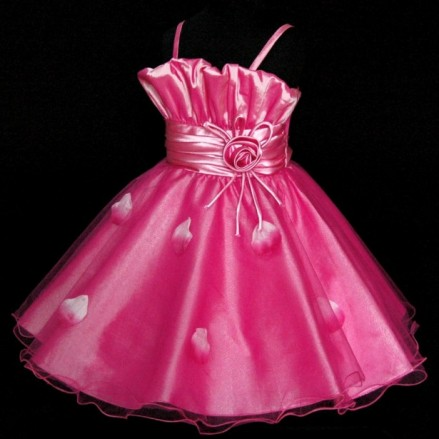 Vestido de seda rosa para formatura infantil