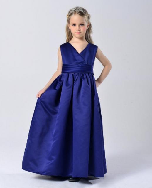 Vestido longo de formatura infantil azul