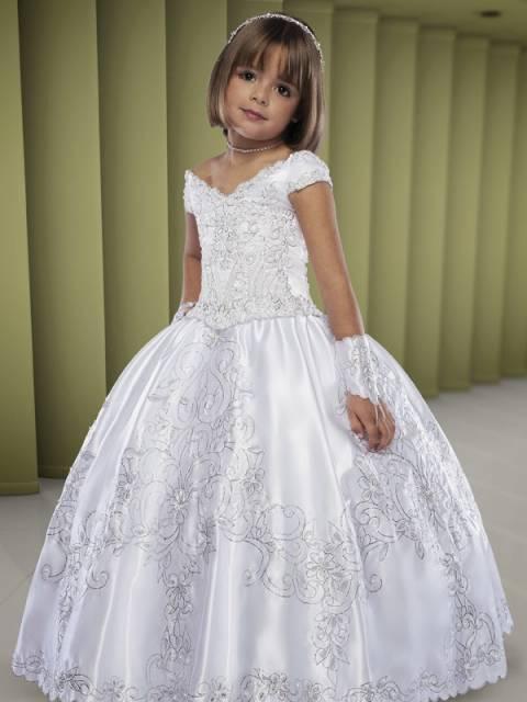 Vestido branco longo infantil para festa