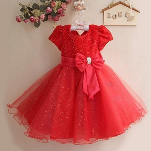 Vestido infantil vermelho com laço