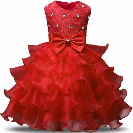 Vestido vermelho infantil de camadas