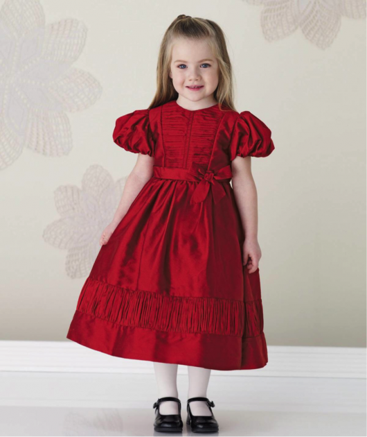 Vestido vermelho infantil com pregas e laço