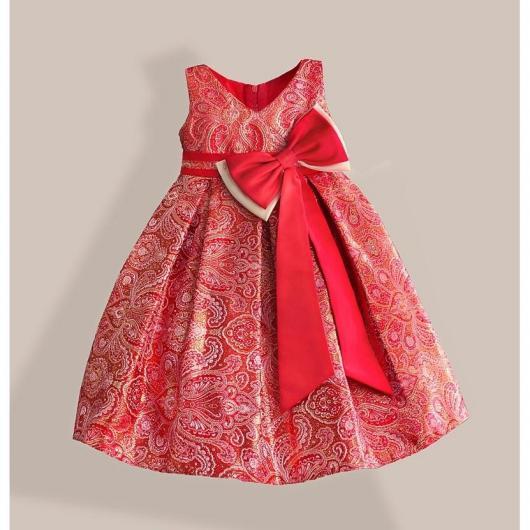 Vestido de criança vermelho com estampa e laço