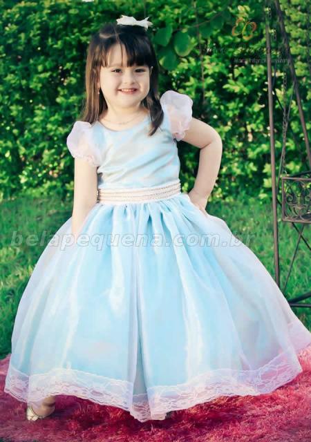 Vestido rodado infantil azul para formatura