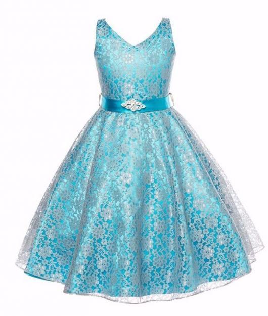 Vestido de formatura infantil azul com renda branca