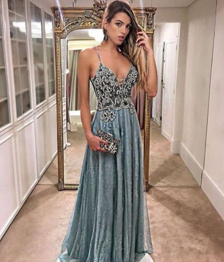 vestido azul de alcinha
