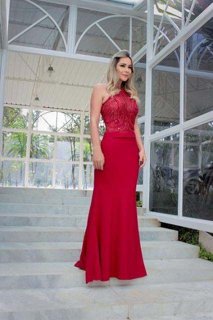 vestido vermelho sereia