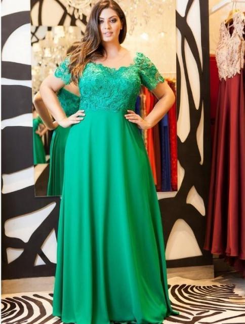 vestido plus size verde