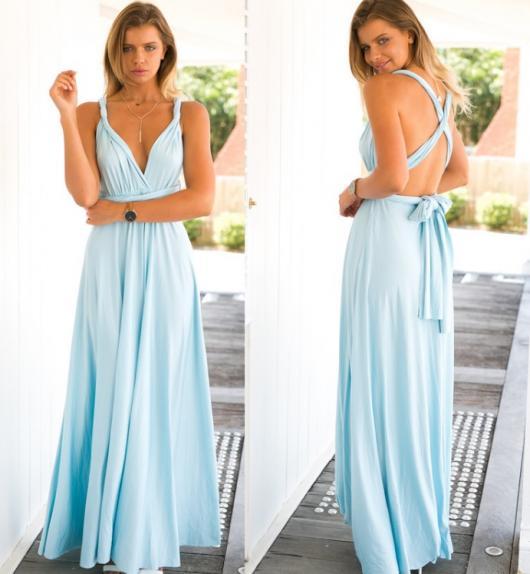 Vestido de formatura para baixinhas azul claro com detalhe nas costas