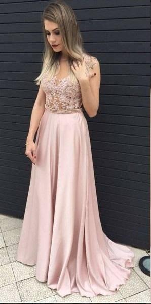 Vestido de formatura para baixinhas longo rosa claro