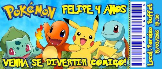 Convites-Pokémon ingresso com Pikachu e outros pokémons