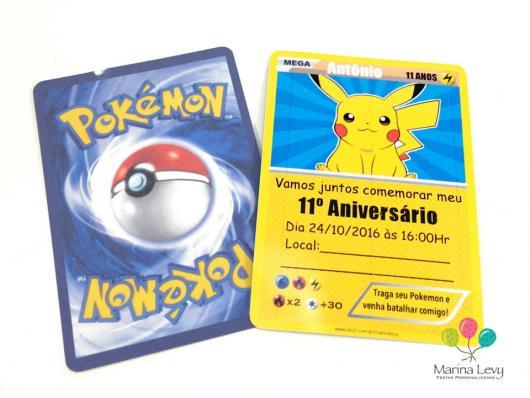 Convites Pokémon card Pikachu