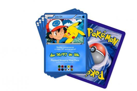 Convites Pokémon card azul