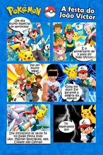 Convites Pokémon história em quadrinhos com os personagens