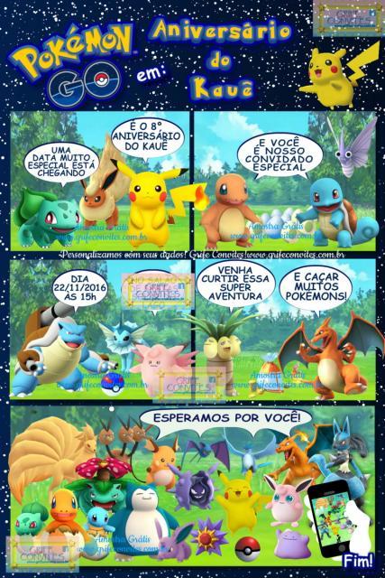 Convites Pokémon história em quadrinhos