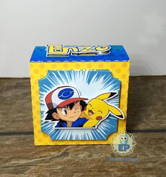 Convites Pokémon caixinha de papel amarela e azul