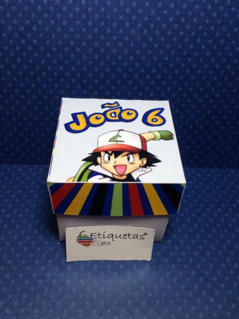 Convites Pokémon caixinha de papel com Ash na tampa
