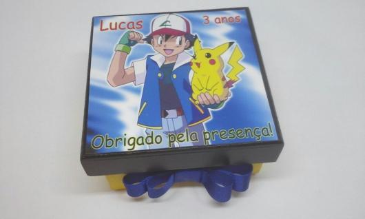 Convites-Pokémon caixa de MDF azul