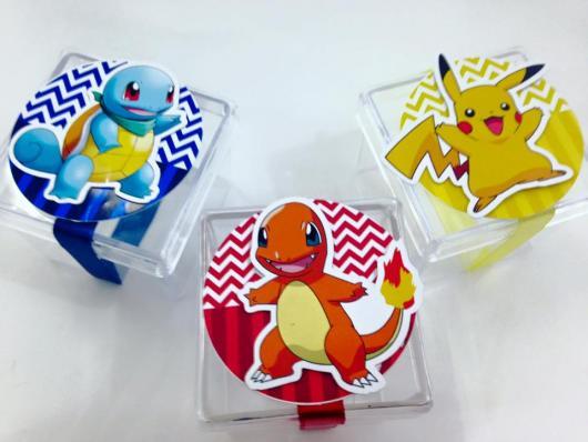 Convites Pokémon caixa de acrílico