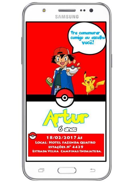 Convites Pokémon digital com fundo vermelho