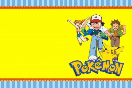 Convites Pokémon para imprimir amarelo e azul