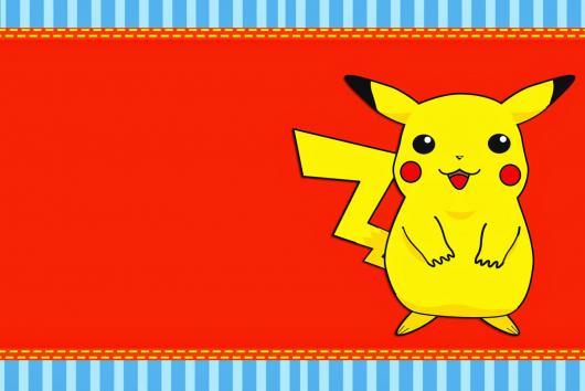 Convites Pokémon imprimir vermelho