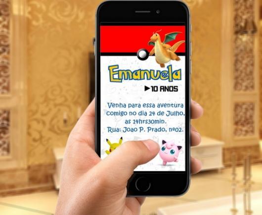 Convites Pokémon digital para Iphone