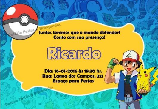 Convites Pokémon fundo azul claro