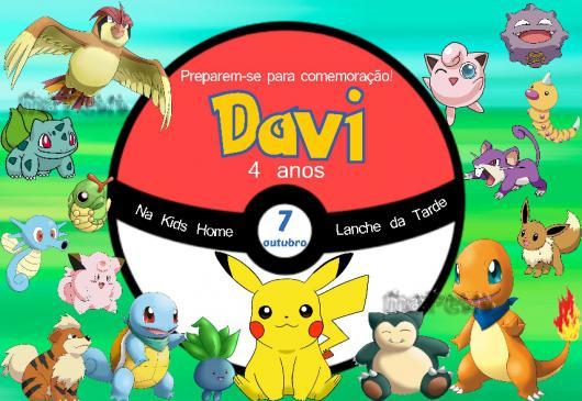 Convites Pokémon cartão com vários pokémons