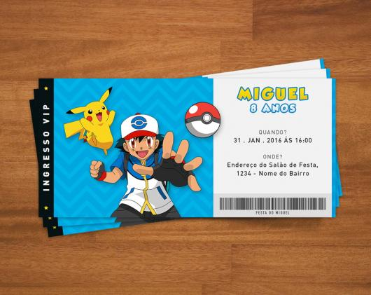 Convites-Pokémon ingresso azul e branco