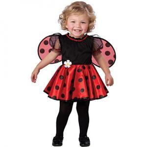 Fantasia de joaninha com blusa e meia pretas e asas e saia vermelhas com bolinhas pretas.