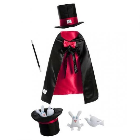 Fantasia de Mágico, com capa, chapéu, cartola e coelhos.