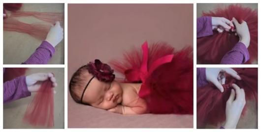 Montagem ensinando a fazer saia tutu para fantasias para bebês.