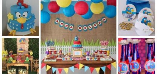 Montagem com tipos de decoração, bolo, e convite.