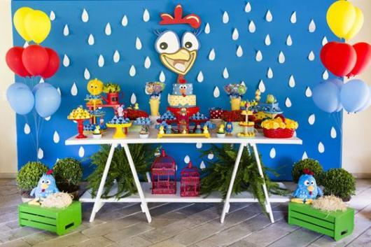 Fundo de mesa azul com rosto da Galinha Pintadinha e pingos brancos.