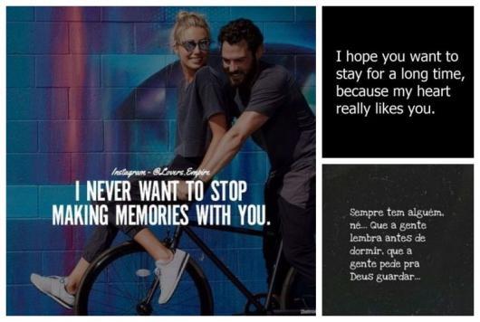 Montagem com três mensagens românticas.