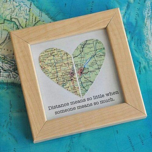 Quadrinho com mapa em formato de coração e mensagem.