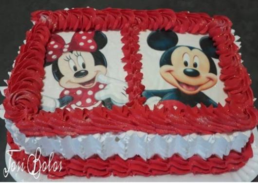 bolo Minnie e Mickey simples