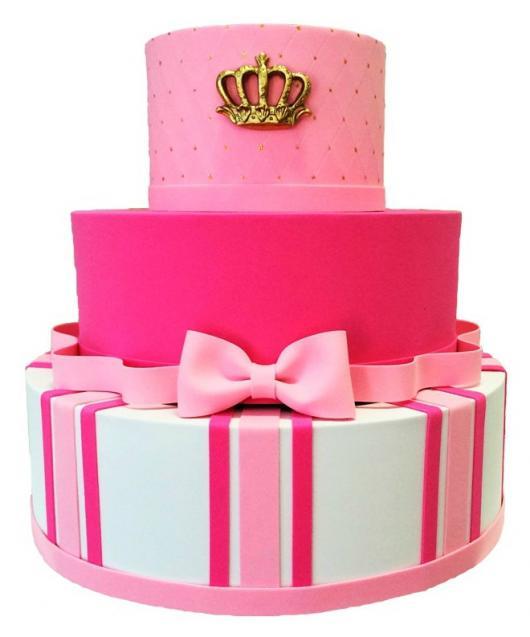 Bolo fake princesa pink e branco de papelão