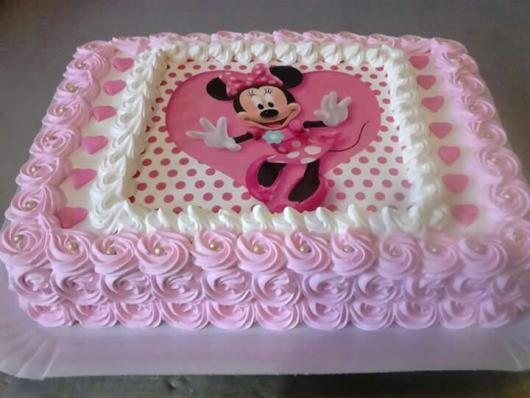 Festa da Minnie rosa bolo simples