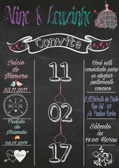 Convites de Noivado Simples chalkboard com data em destaque
