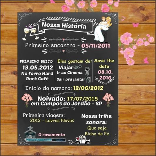 Convites de Noivado Simples chalkboard com hístória dos noivos