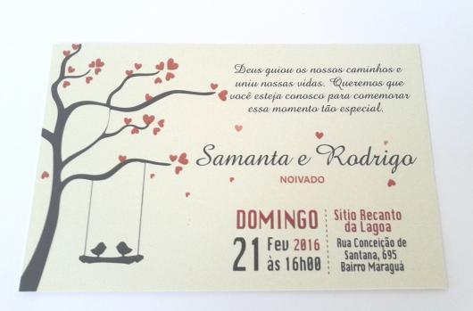 Convites de Noivado Simples minimalista com passarinhos