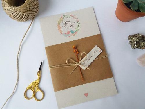 Convites de Noivado Simples rústico artesanal