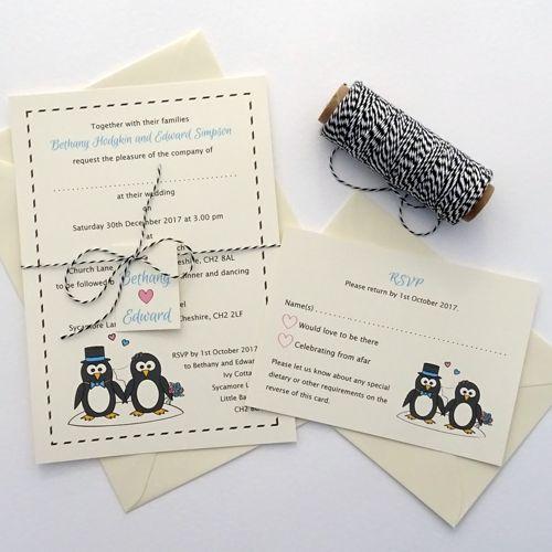 Convites de Noivado Simples branco ilustrado com pinguins
