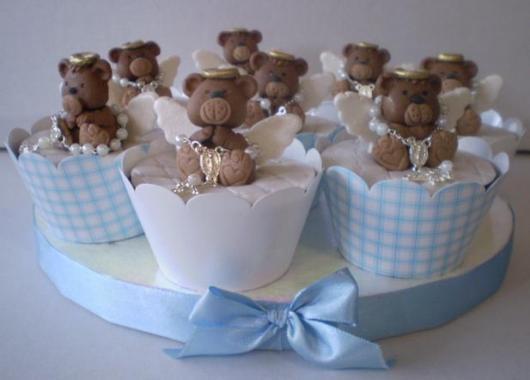 Cupcake para batizado ursinho