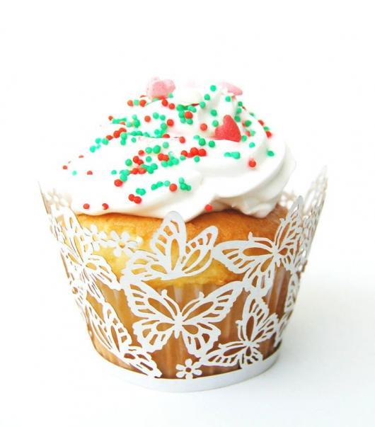 Cupcake para batizado wrapper borboletas