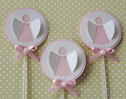 Cupcake para batizado topper anjinho rosa