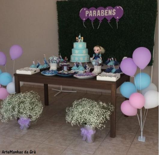 festa frozen azul e lilás