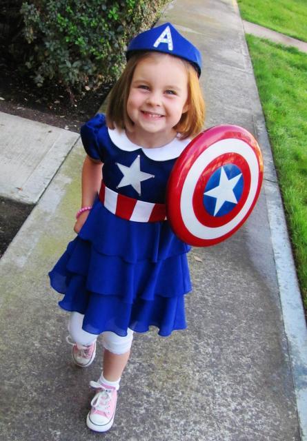 Fantasia Capitão América Infantil com saia azul